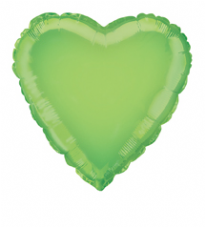 Heart Shaped Lime Green Foil Helium Balloon